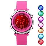 Kid Watch Multi Function 50M Waterproof Sport LED Alarm Stopwatch Digital Child Wristwatch for Boy Girl Pink (Color: Pink)