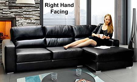 New Kita Large Leather Corner Chaise Sofa Suite Black (Right Hand Facing)