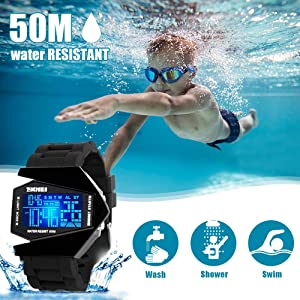 Auspicious beginning Kids Watches Boys Waterproof Watch with Alarm Chronograph Electronic Outdoor Sport  Black Wrist Watches for Children (Color: black)