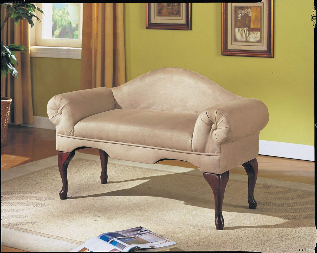 Microfiber rolled arm back bench seat chair bedroom living room lounge beige new Living room benches with arms