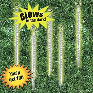 Glow in the Dark Icicle Christmas Ornaments - Set of 100