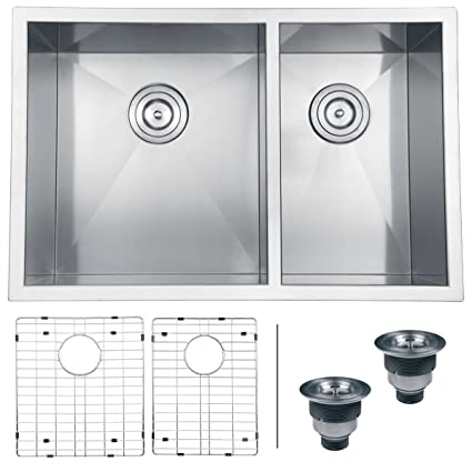 "Ruvati RVH7200 Undermount 16 Gauge Kitchen Sink Double Bowl, 29"", Stainless Steel"