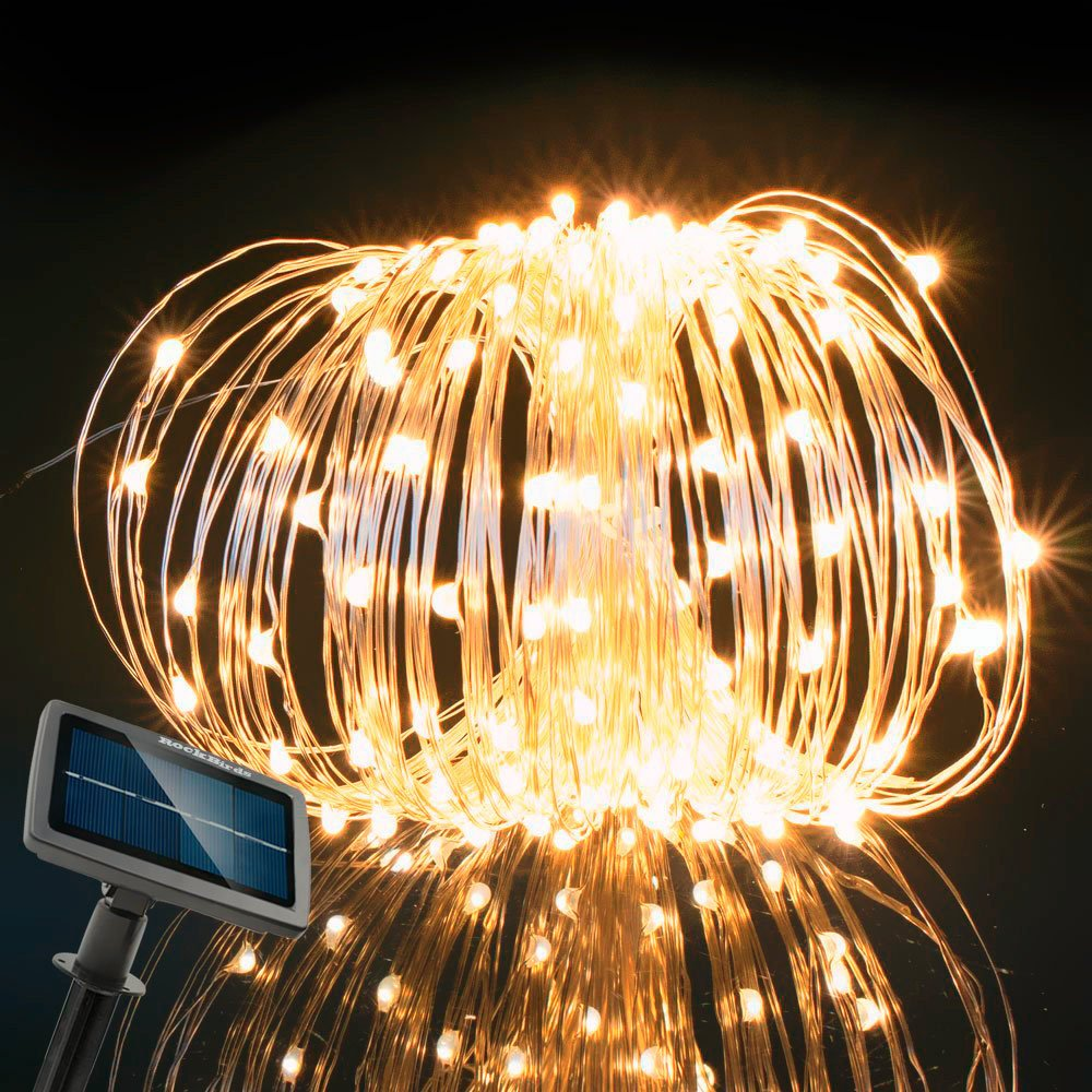 RockBirds SL150-WW 72Ft Lighting Chain 150 LED String Lights Copper Wire Lights, Solar Powered Waterproof Starry Fairy Lighting New Year