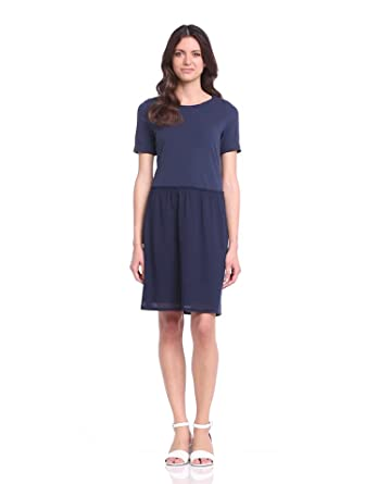 Marc O'Polo Women's Short SleeveDress - Blue - Blau (indigo) - 8 (Brand size : Herstellergröße : 34)
