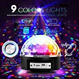 Xuba 85-265V Bluetooth Sound Activated 9 Colors LED Music Crystal Magic Ball Stage Light Lamp with Remote Control for Home Room Party Club Decoration European regulations (YK2227-9 Color) (Color: Eu Regulations (Yk2227-9 Color))