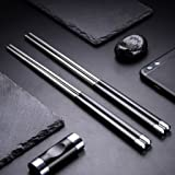 5 Pair Stainless Steel Chopsticks Gift Set Japanese Hotel Restaurant Chopsticks Set (Stainless Steel and Black)