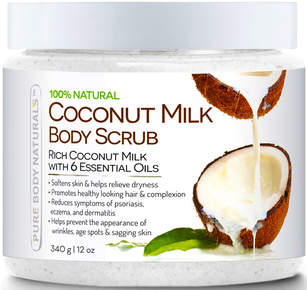 Coconut Milk Body Scrub 100% Natural 12 oz. Powerful Body Scrub Exfoliator Helps Prevent Appearance of Wrinkles with Dead Sea Salt Scrub, Almond Oil, Vitamin E. Daily Moisturizer For All Skin Types