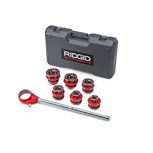 RIDGID 36475 Exposed Ratchet Threader Set, Model 12-R Ratcheting Pipe Threading Set of 1/2-Inch to 2-Inch NPT Pipe Threading Dies and Manual Ratcheting Pipe Threader with Carrying Case (Color: Red, Tamaño: Small)