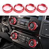 Aluminum Alloy Car Inner side Air Conditioner Switch Knob Ring Cover Trim For Ford F150 XLT 2016 2017 2018 (Red)