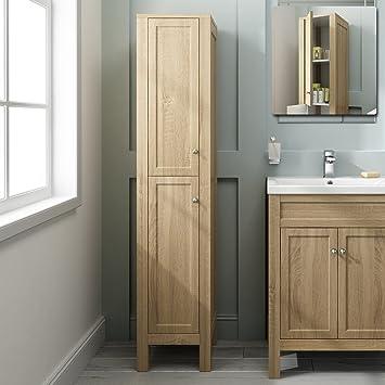 1600mm Tall Oak Floor Standing Bathroom Furniture Cabinet Storage Unit MF1012