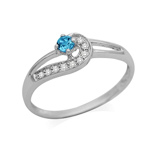 Miore 9ct White Gold Blue Topaz and Diamond Twist Ring SA930R