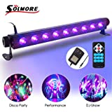 SOLMORE UV Black Light Bar 27W 9LEDs Flood Light DJ Blacklight for Glow Party Stage Club Disco Show AC100-240V (with Remote) (Color: Black Light)