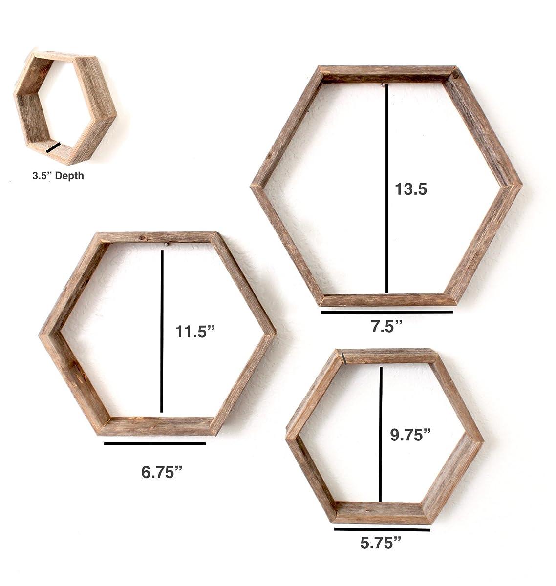 BarnwoodUSA Rustic Hexagon Set of 3 Shelves - 100 Percent Reclaimed Wood, Weathered Gray