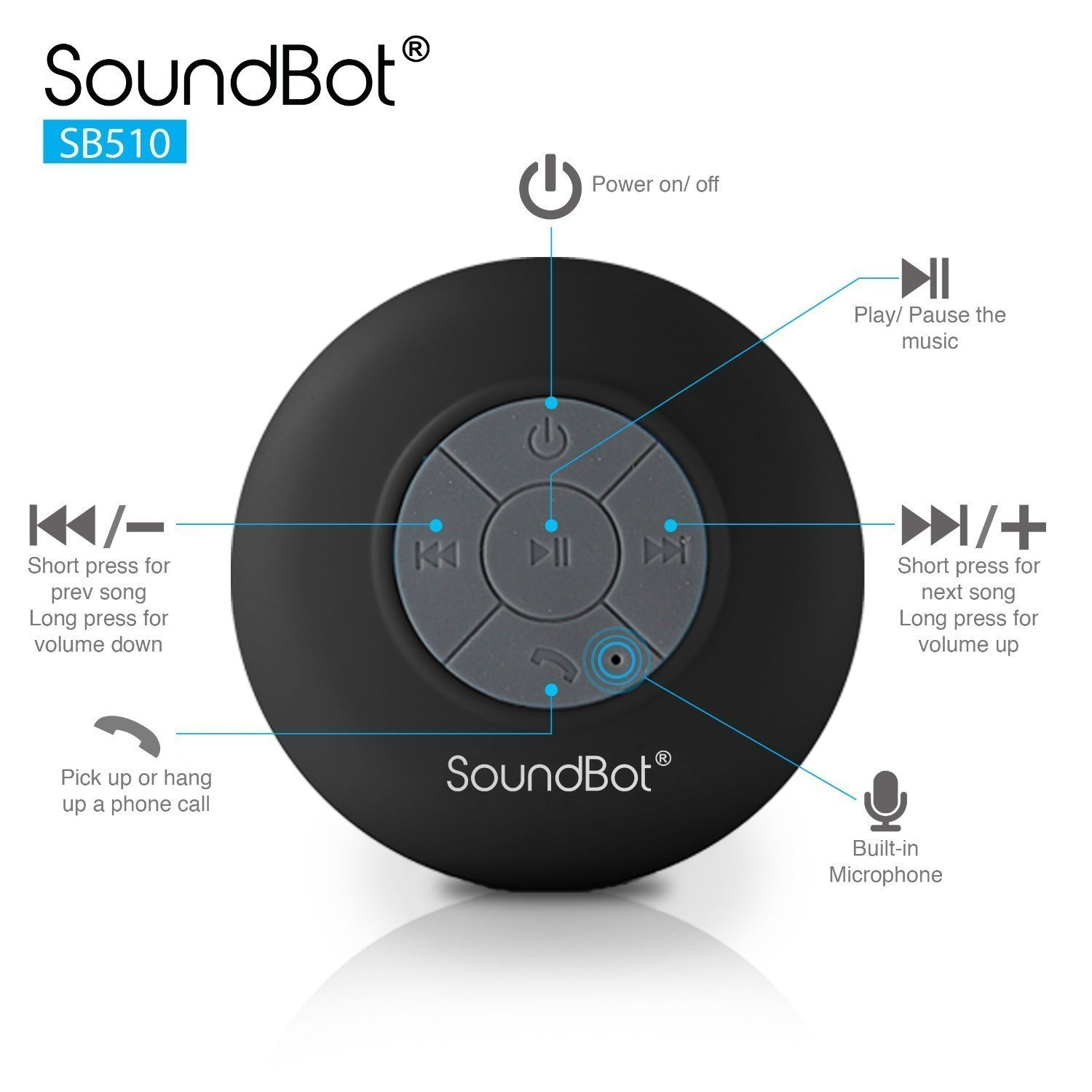 SoundBot SB510 HD Water Resistant Bluetooth 3.0 Shower Speaker - Black