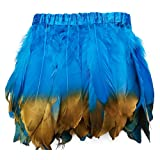 wanjin Duck Goose Feathers Trim Fringe Craft Feather Clothing Accessories Pack of 2 Yards(Turquoise and Gold) (Color: 1,turquoise and Gold)