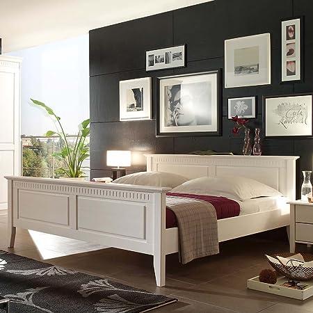 Bett in Weiß Pinie Massivholz Breite 196 cm Liegefläche 180x200 Pharao24