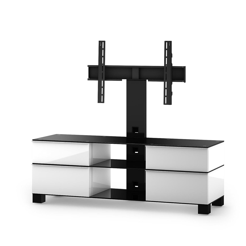 Sonorous MD 8240-B-HBLK-WHT Fernseher-Möbel mit Schwarzglas (Aluminium Hochglanz, Korpus Hochglanzdekor) weiß/schwarz