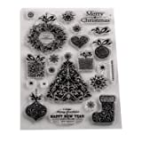 5 Sheets Silicone Clear Stamps Sea for lCards Making DIY Scrapbooking Photo Card,Christmas Theme,Shing Christmas (Color: Style 9)
