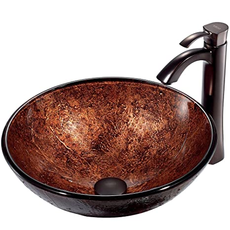 VIGO Mahogany Moon Glass Vessel Bathroom Sink and Otis Vessel Faucet with Pop Up, Oil Rubbed Bronze