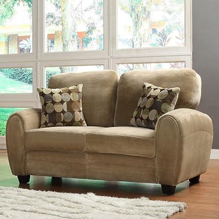 Enria Plush Love Seat - Brown