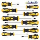 Amartisan 10-Piece Magnetic Screwdrivers Set, 5 Phillips and 5 Slotted Tips Professional Cushion Grip Screwdriver Set (Color: Yellow, Tamaño: Slotted & Phillips)