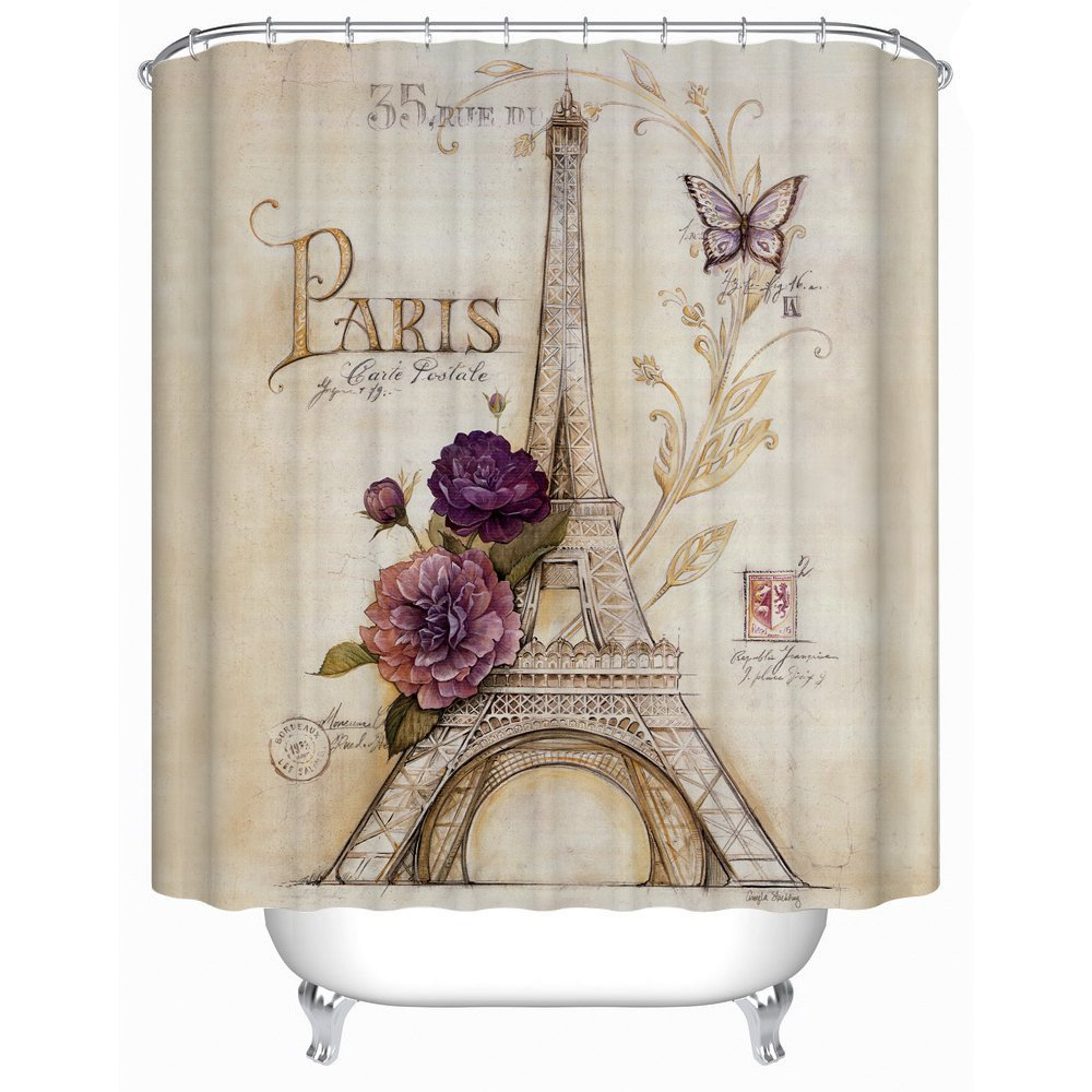 Uphome vintage paris themed bluish brown eiffel tower bathroom shower curtain purple flower for French themed bathroom accessories