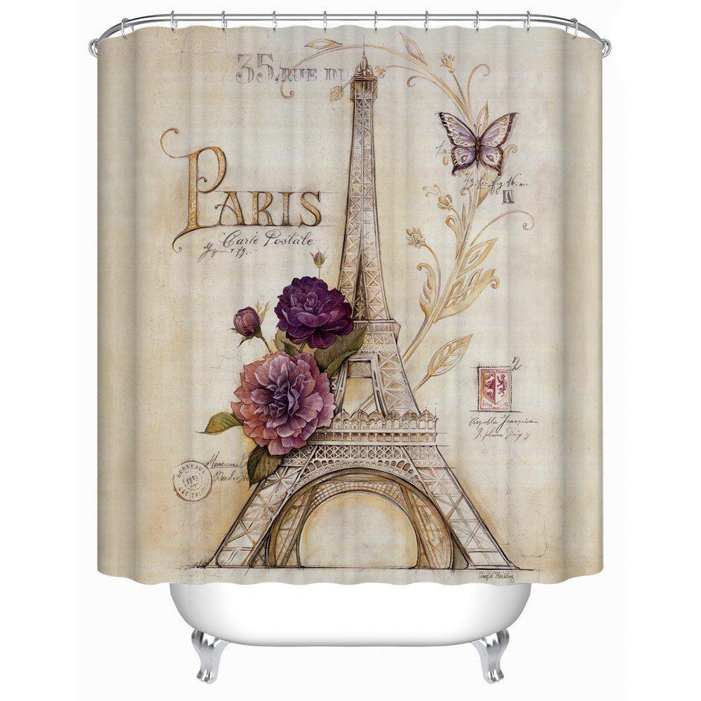 Uphome Vintage Paris Themed Light Brown Eiffel Tower Bathroom Shower Curtain - Purple Flower Custom Polyester Fabric Bath Decorative Curtain (72