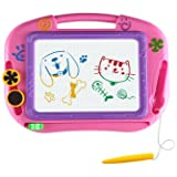 EEDan Magnetic Drawing Board For Kids- Erasable Colorful Magna Doodle Drawing Board Toys for Kids Writing Sketching Pad- Gift Little Girls Travel Size (Color: Pinky)