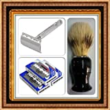___A Classy Shaving Combo Kit of Gillette Patent Weishi Chrome Plated Double Edge Razor+100blades+shaving Brush Can Be a Unmatchable Option for a Classy Gift____
