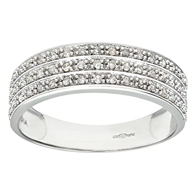 Naava 9ct White Gold Quarter Carat Triple Row Diamond Half Eternity Ring