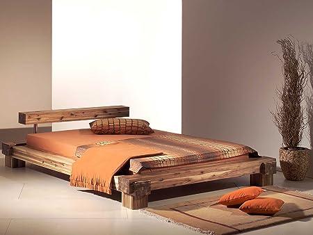 "Massivholzbett Doppelbett Holzbett Bett Balkenbett Akazie ""Sabatino"" (160 cm x 200 cm)"