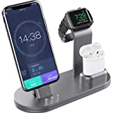 OLEBR Charging Stand Charging Docks Suitable for Apple Watch Series 4/3/2/1/ AirPods/iPhone Xs/iPhone Xs Max/iPhone XR/X/8/8Plus/7/7 Plus /6S /6S Plus/iPad-Space Gray (Color: Space Gray)