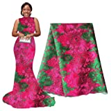 pqdaysun 5 Yards African Net Lace Fabrics Nigerian French Fabric Embroidered and Rhinestones Guipure Cord Lace (Green and Rose) (Color: Green and Rose, Tamaño: 51 Inches)
