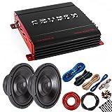 Package: Crunch PX1000.2 1000W 2-CH Class AB Amplifier + 2 Audiotek K712 1200W Subwoofer + Amp Kit