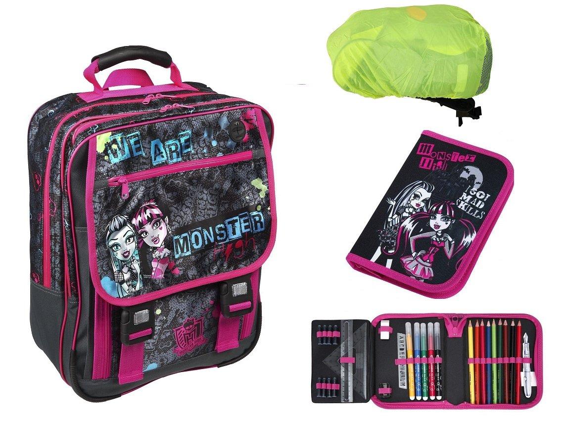 Monster High großes Schulrucksack Set 3-tlg. MHCP8300 Tasche + Federmappe gefüllt + Regen-/Sicherheitshülle online bestellen