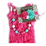 Baby Girl Lace Romper Set- Baby Birthday Outfit by Pretty Baby Bowtique (6-13months, Hot Pink and Mint)
