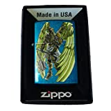 Zippo Custom Lighter - Angel Wings Warrior w/ Flail Weapon Cerulean Blue (Color: Blue)