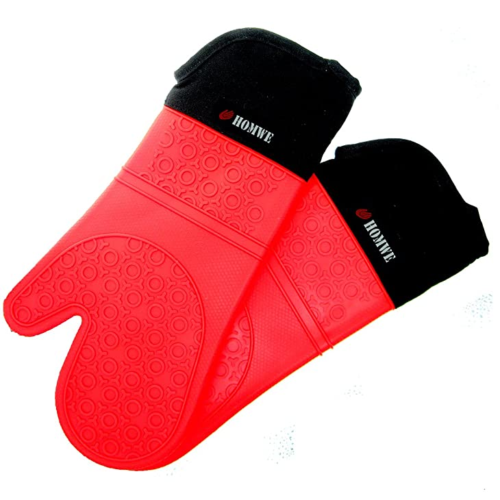 Silicone Oven Mitts - Commercial Grade, Extra Long Quilted Cotton Lining - Heat Resistant Kitchen Potholder Gloves - 1 Pair (Red) - Homwe