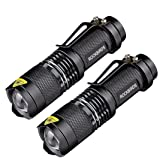 ROCKBIRDS LED Flashlights (2 Pack) - with Belt Clip, Fluorescent Ring, Zoomable, High Lumen, 3 Modes, Water Resistant- Best Tools for Camping, Outdoor