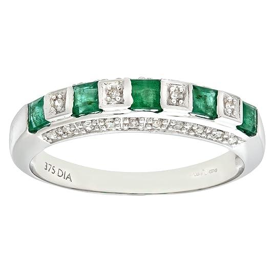 Naava Ladies 9ct White Gold Diamond And Emerald Eternity Ring