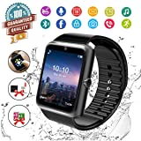 Smart Watch,Bluetooth Smartwatch Touch Screen Wrist Watch with Camera/SIM Card Slot,Waterproof Smart Watch Sports Fitness Tracker Android Phone Watch Compatible with Android Phones (Black) (Color: Black)