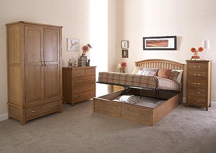 Madrid Doppelbett aus Holz, Bett mit Bettkasten, Eiche, 1,4 m