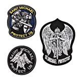 FaithHeart [3 Packs] Saint Michael Modern Morale Patch, Embroidered Military Tactical Emblem Army Morale Hook & Loop Patch, St. Michael Police Patches with Velcro-Three Pcs (Send Gift Box) (Color: A Saint Michael 3 Packs)