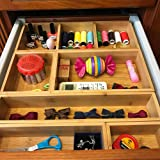 Bamboo Drawer Organizer and 6 Storage Box Dividers Set,8 Compartment Organization Tray Holder for Craft,Sewing,Office,Bathroom.Kitchen … (L1) (Tamaño: L1)