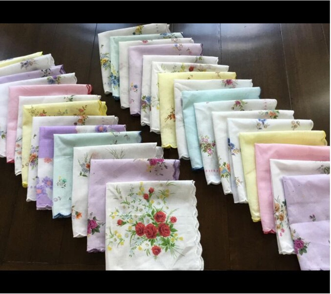 FTSUCQ Womens/Girls Vintage Multi Floral Wedding Party Cotton Handkerchiefs 1