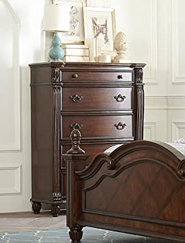 Homelegance Hadley Row 5 Drawer Chest in Dark Cherry