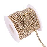 BENECREAT 10 Yard 3mm Crystal Rhinestone Close Chain Clear Trimming Claw Chain Sewing Craft About 2330pcs Rhinestones - Crystal (Gold Bottom) (Color: Crystal (Gold Bottom), Tamaño: 3mm)