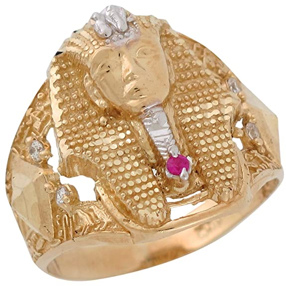 14ct Two Colour Gold Synthetic Ruby King Tut Egyptian Pharaoh Mens Wide Band Ring