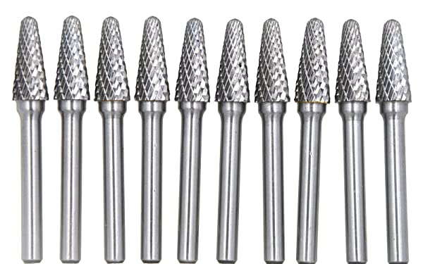 10pcs Aluminum Carbide Burrs for Rotary Die Bits Rotary Tool Set 3mm 0.118""