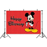 Photography Backdrop Disney 7x5 Red Background Black Mickey Mouse Happy Birthday Photographic Background Banner (Color: M001, Tamaño: 7x5ft polyester)